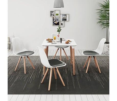 vidaXL Ensemble de table et chaises 5 pcs Blanc et noir