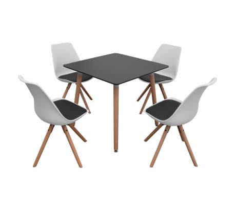 vidaxl 5 teilige essgruppe tisch st hle schwarz und wei g nstig kaufen. Black Bedroom Furniture Sets. Home Design Ideas