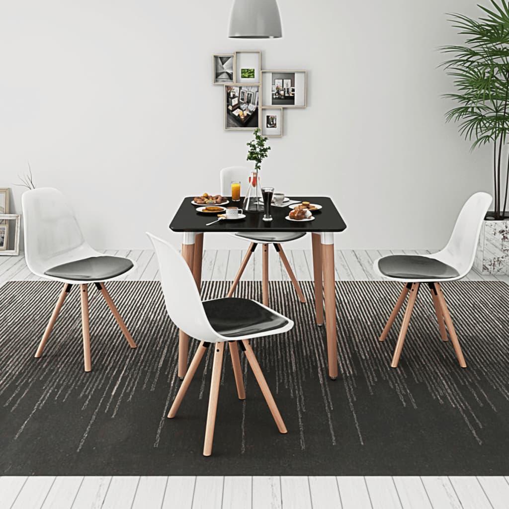 vidaXL Pětidílný jídelní set stolu a židlí černobílý