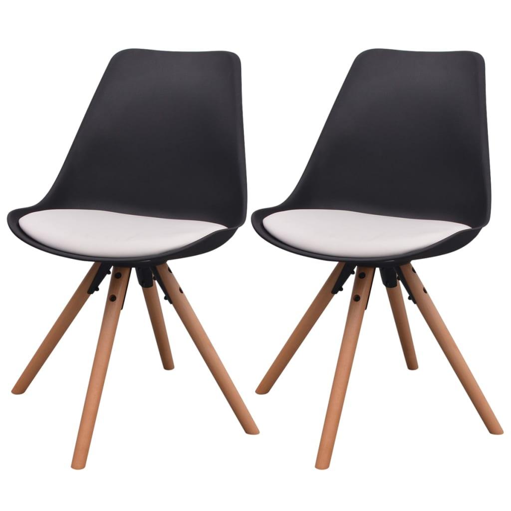 vidaXL Καρέκλες Τραπεζαρίας 2 τεμ. Ασπρόμαυρες από Συνθετικό Δέρμα
