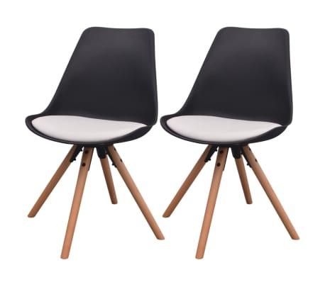vidaXL virtuves krēsli, 2 gab., melni ar baltu, mākslīgā āda