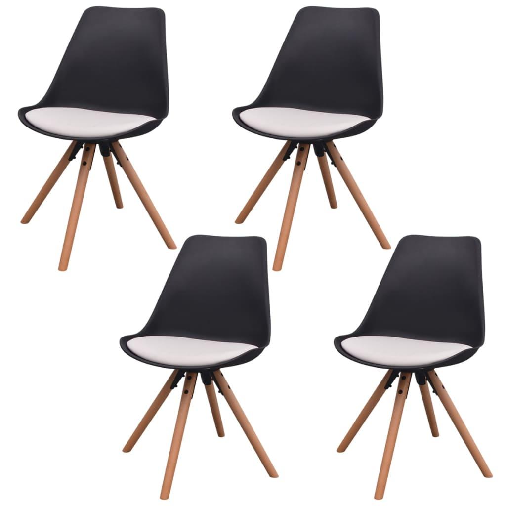 vidaXL Jídelní židle 4 ks, umělá kůže, černobílé