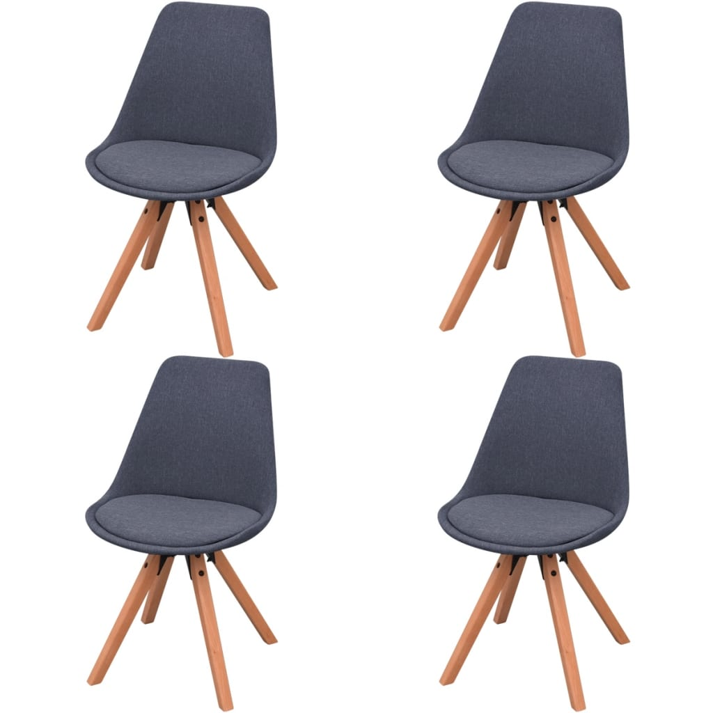 vidaXL Jídelní židle 4 ks, textil, tmavě šedé