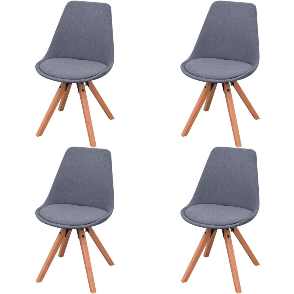 vidaXL Jídelní židle 4 ks, textil, světle šedé