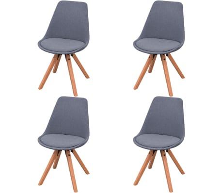 vidaXL virtuves krēsli, 4 gab., gaiši pelēks audums
