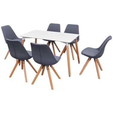 VidaXL Sedmodijelni Set Stol i Stolice za Blagovaonicu Bijela i Siva boja[2/9]