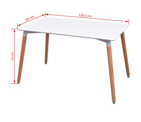 VidaXL Sedmodijelni Set Stol i Stolice za Blagovaonicu Bijela i Siva boja[8/9]