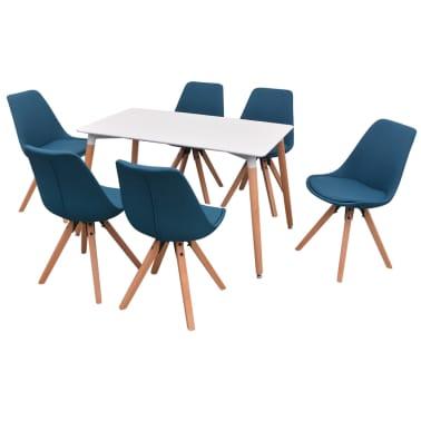 vidaXL 7 dalių valgomojo stalo ir kėdžių komplektas, balta ir mėlyna[2/9]