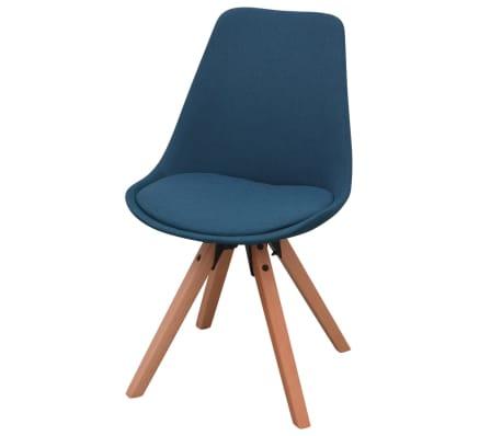 vidaXL 7 dalių valgomojo stalo ir kėdžių komplektas, balta ir mėlyna[6/9]