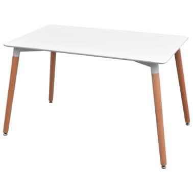vidaXL 7 dalių valgomojo stalo ir kėdžių komplektas, balta ir mėlyna[3/9]