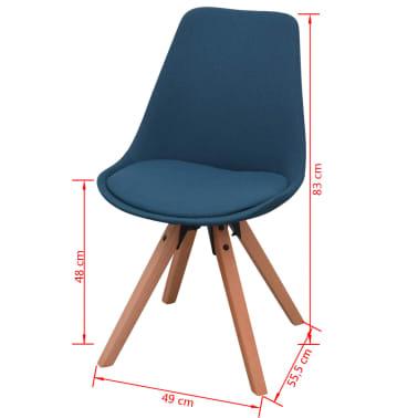 vidaXL 7 dalių valgomojo stalo ir kėdžių komplektas, balta ir mėlyna[9/9]