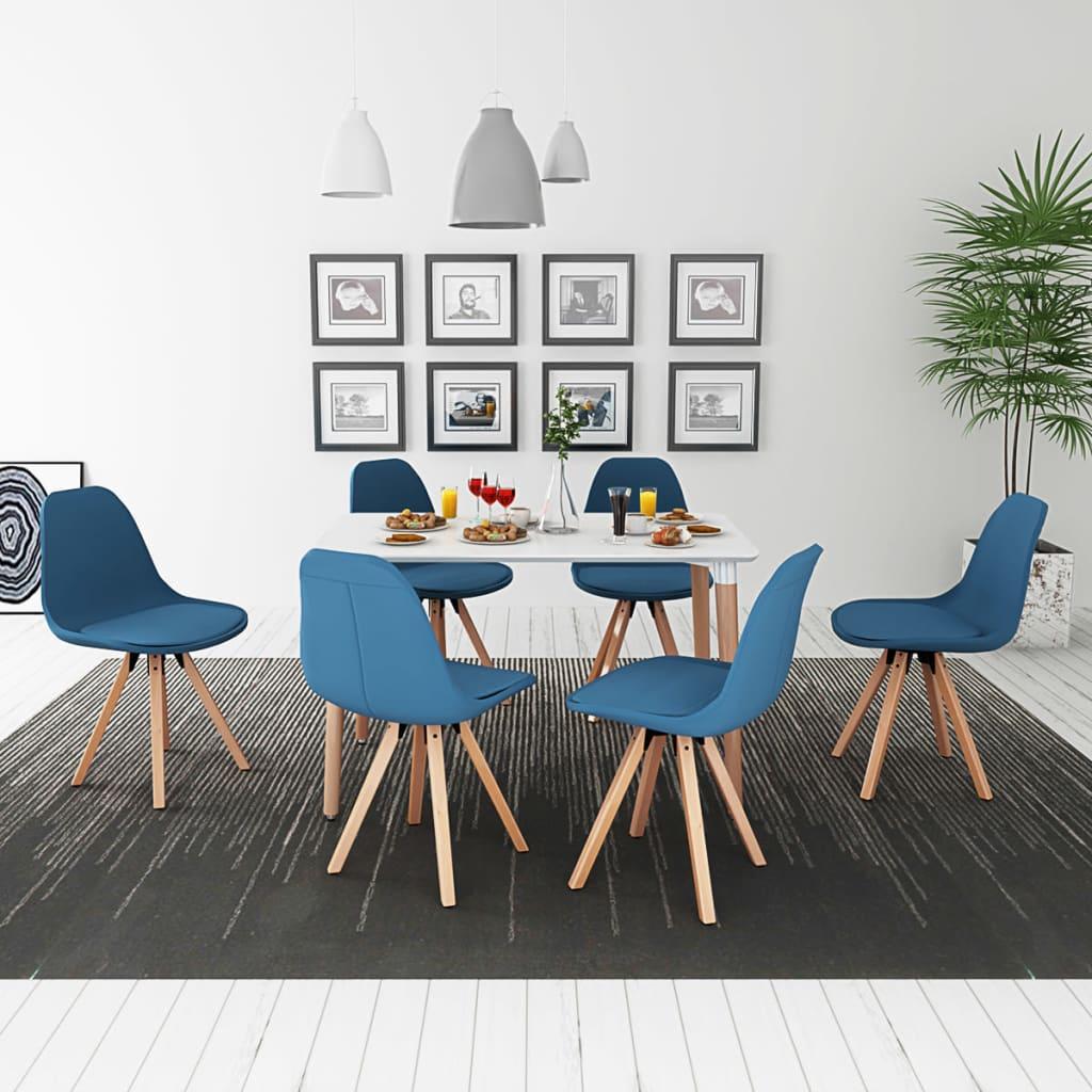 vidaXL Σετ Τραπεζαρίας με Καρέκλες Επτά Τεμαχίων Λευκό και Μπλε
