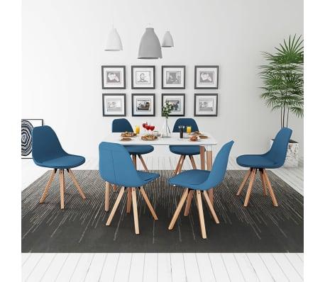 vidaxl 7 teilige essgruppe tisch st hle wei und blau g nstig kaufen. Black Bedroom Furniture Sets. Home Design Ideas