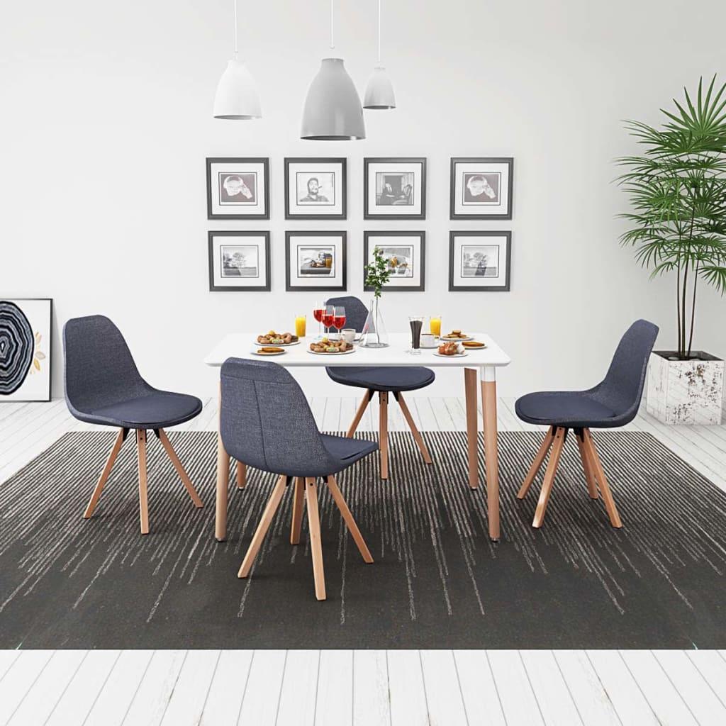vidaXL Set masă și scaune de bucătărie, alb și gri închis, 5 piese imagine vidaxl.ro