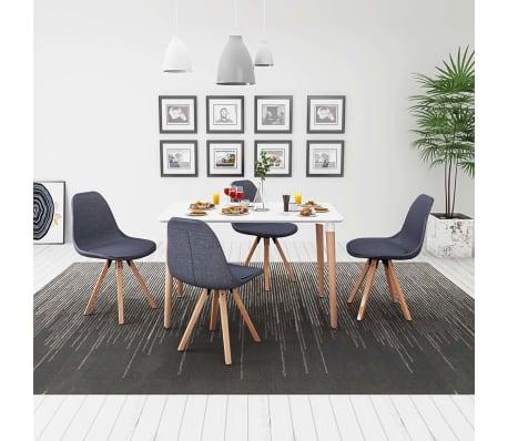 vidaxl 5 teilige essgruppe tisch st hle wei und dunkelgrau g nstig kaufen. Black Bedroom Furniture Sets. Home Design Ideas
