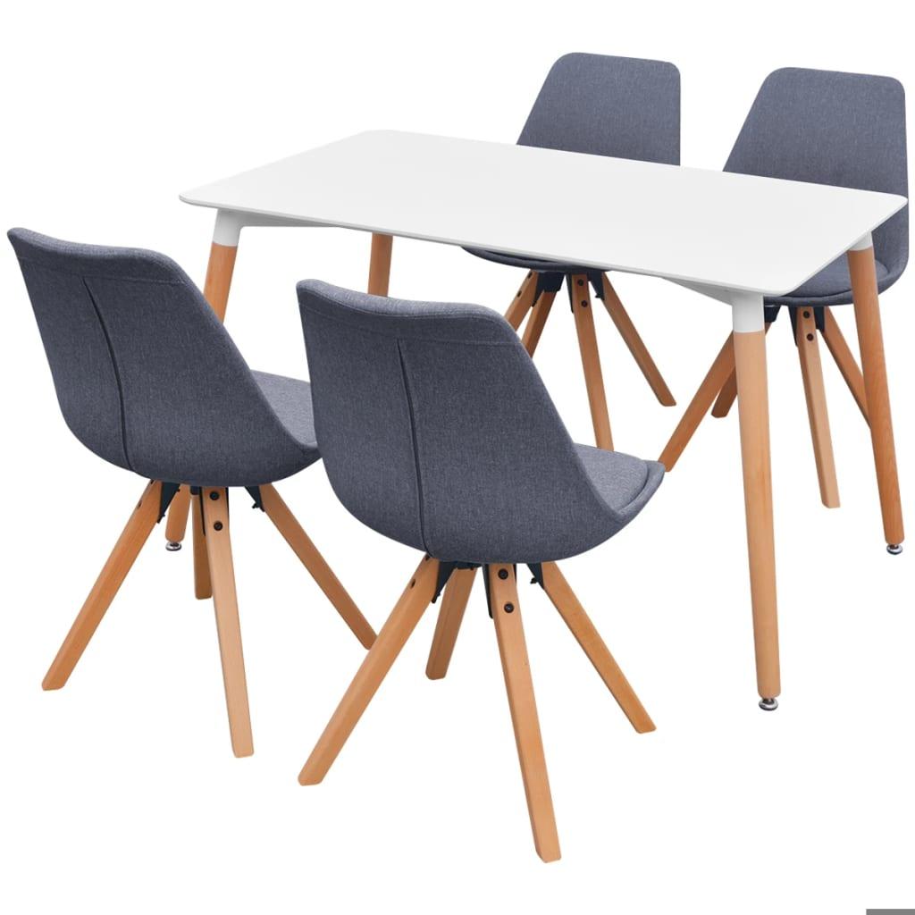 vidaXL Σετ Τραπεζαρίας με Καρέκλες Πέντε Τεμαχίων Λευκό/Ανοιχτό Γκρι
