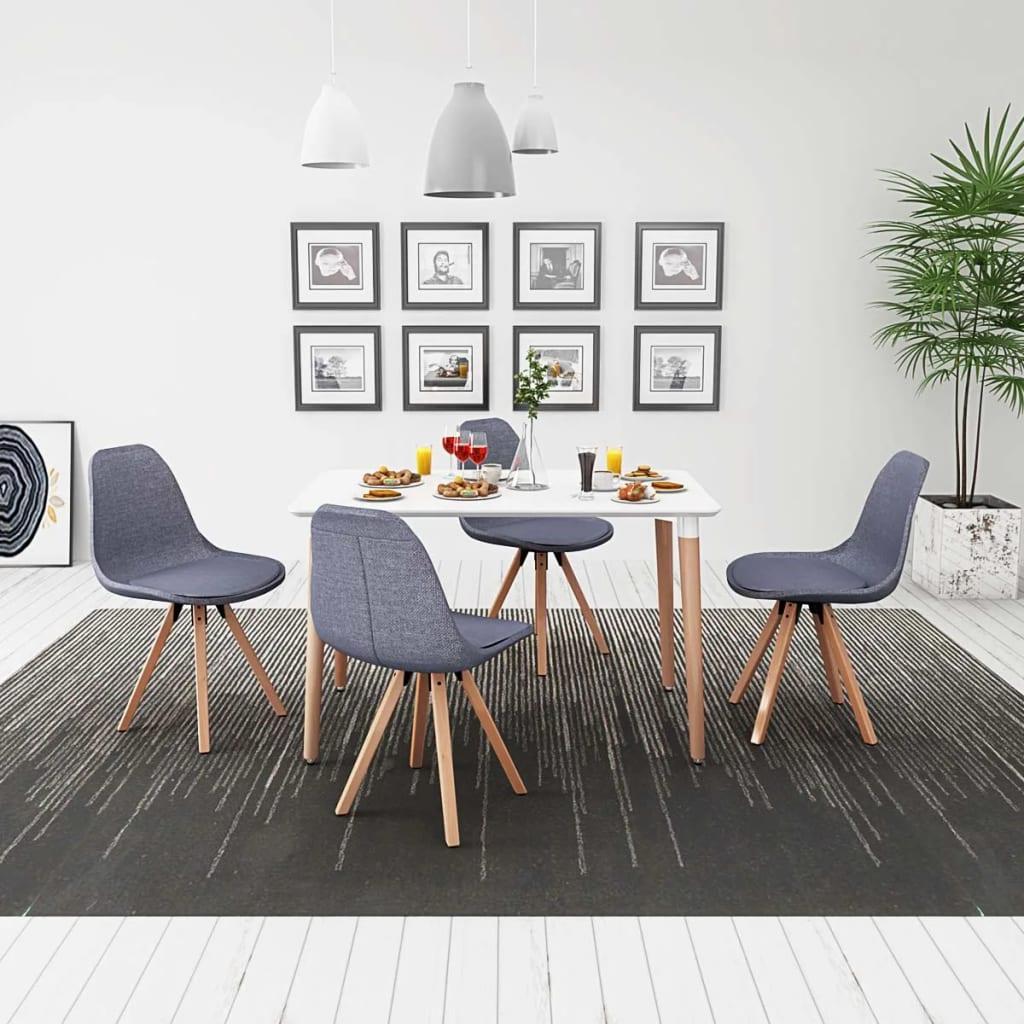 vidaXL Set masă și scaune de bucătărie, 5 piese, alb și gri deschis poza vidaxl.ro