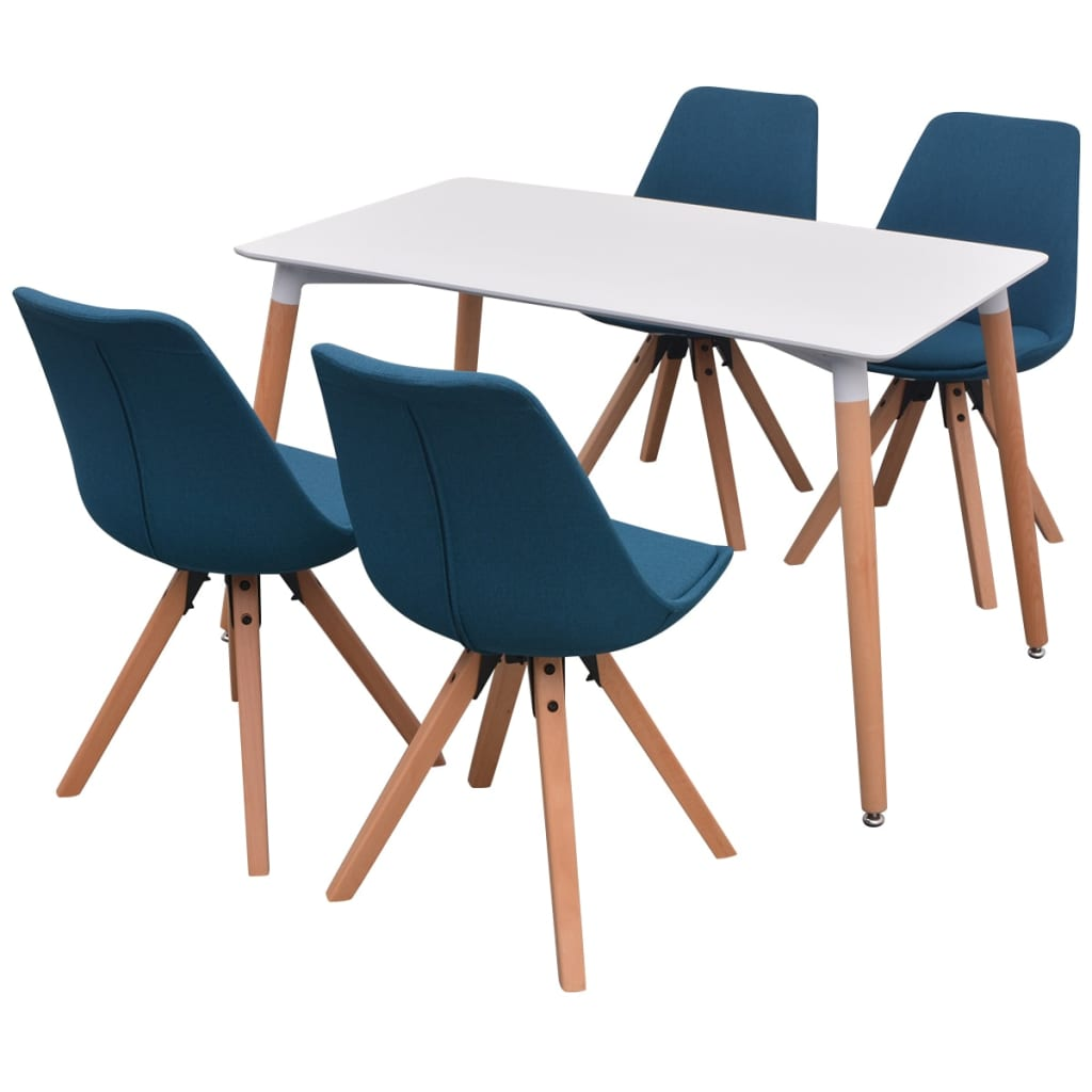 vidaXL Σετ Τραπεζαρίας με Καρέκλες Πέντε Τεμαχίων Λευκό και Μπλε