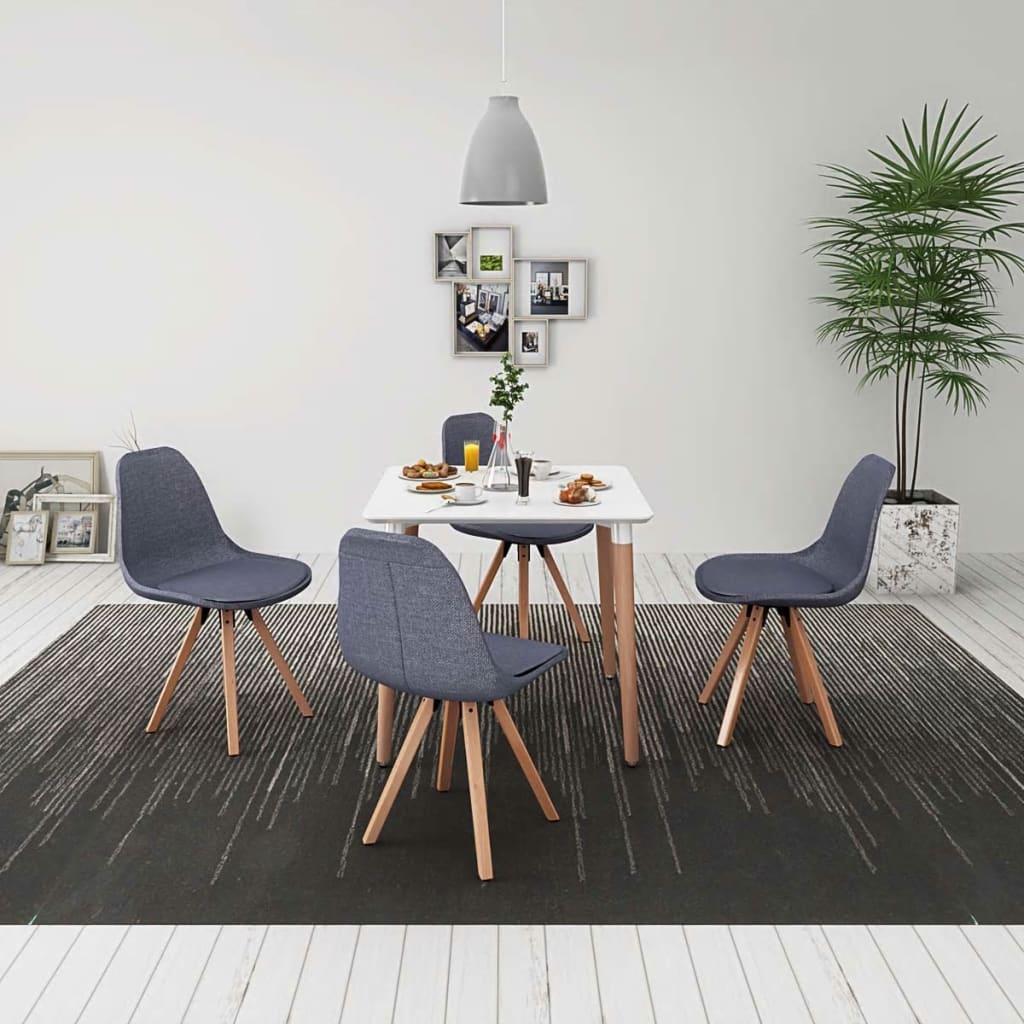 vidaXL Σετ Τραπεζαρίας με Καρέκλες Πέντε Τεμαχίων Λευκό & Ανοιχτό Γκρι