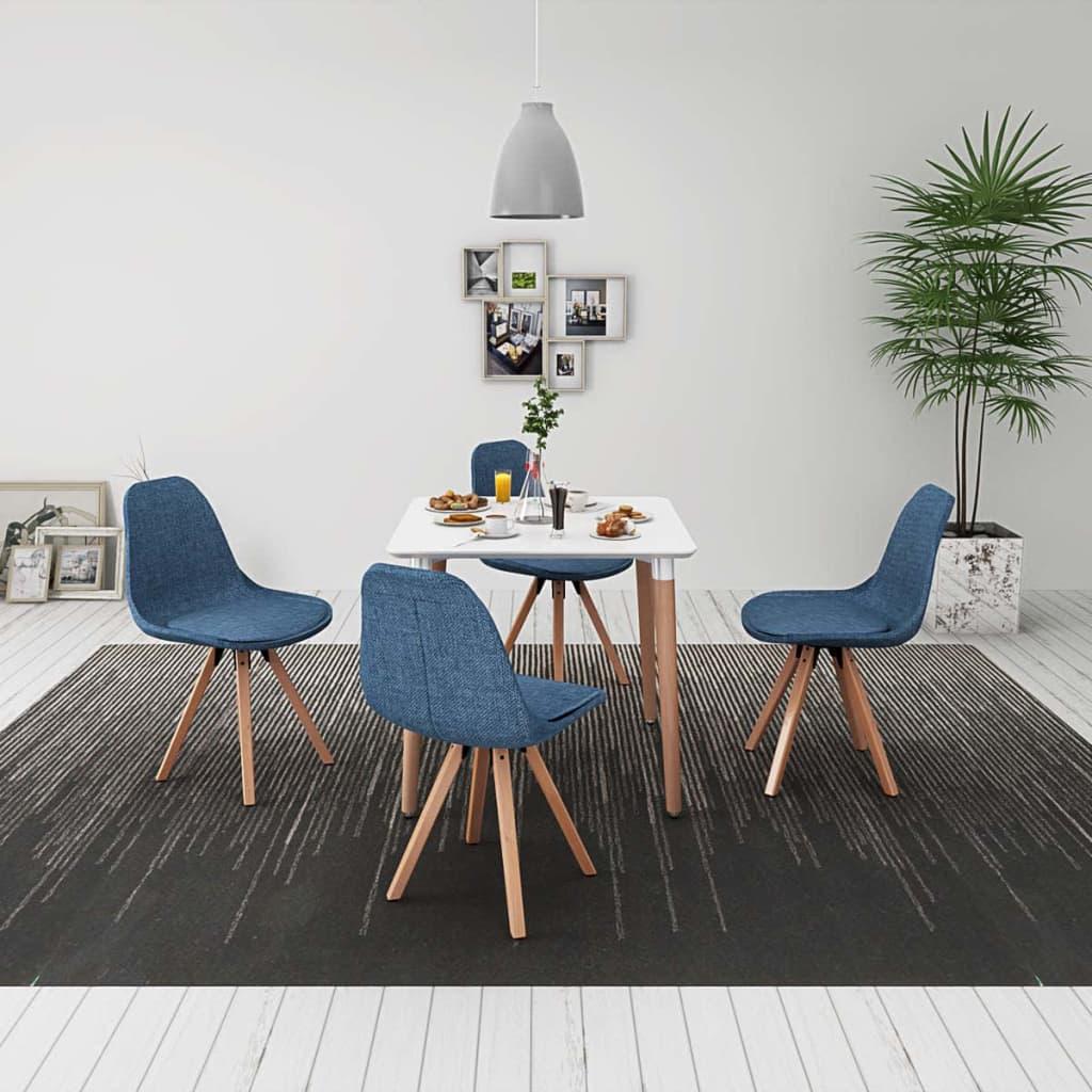 vidaXL Set de masă cu scaune, 5 piese, alb și albastru imagine vidaxl.ro