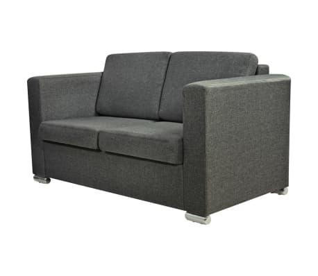 vidaXL Dvivietė sofa, audinys, tamsiai pilka