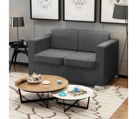 Vidaxl divano a 2 posti in stoffa grigio scuro - Divano grigio scuro ...