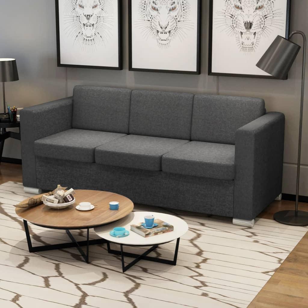 vidaXL 3 pers. sofa mørkegråt stof