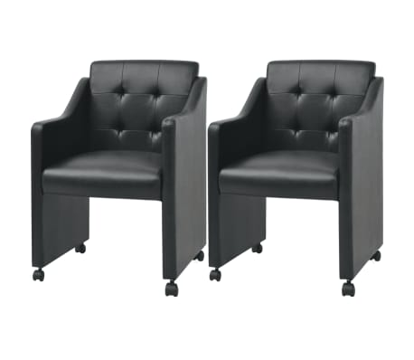 vidaXL Valgomojo kėdės, 2 vnt., juodos, 59x57,5x86,5 cm[1/7]