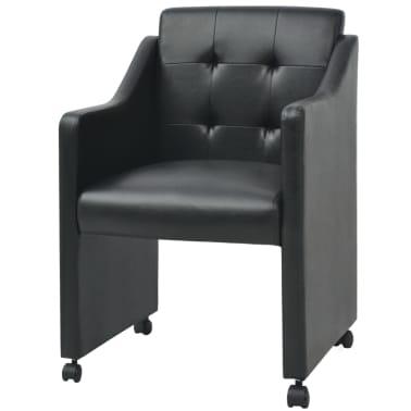 vidaXL Valgomojo kėdės, 2 vnt., juodos, 59x57,5x86,5 cm[2/7]