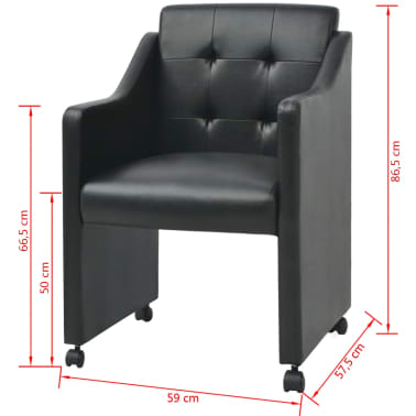 vidaXL Valgomojo kėdės, 2 vnt., juodos, 59x57,5x86,5 cm[7/7]
