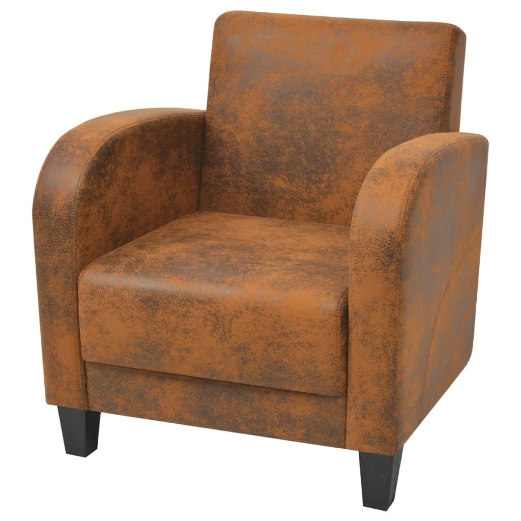 vidaXL Fotel, brązowy, sztuczna skóra zamszowa