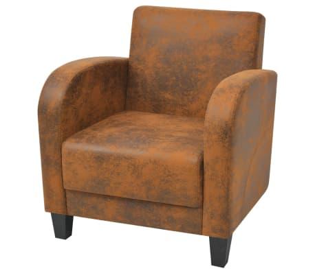 vidaXL Armchair Brown Faux Suede Leather