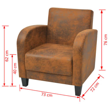 vidaXL Armchair Brown 73x72x76 cm[5/5]