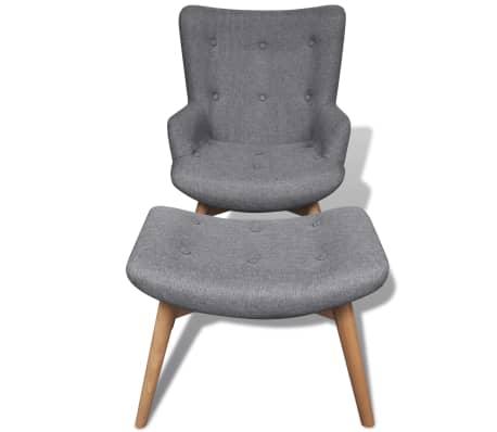 vidaXL Armchair with Footstool Gray Fabric[5/5]