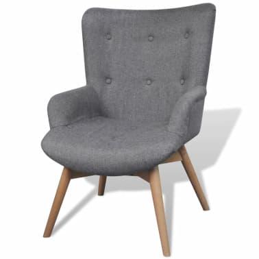 vidaXL Armchair with Footstool Gray Fabric[2/5]