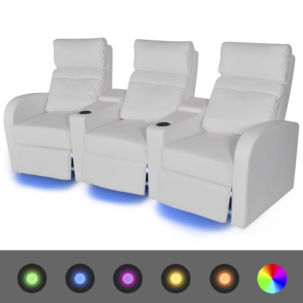 vidaXL Poltrona Reclinabile a 3 Posti con LED Pelle Artificiale Bianca