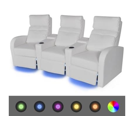 vidaXL Fauteuil inclinable à LED 3 places Cuir artificiel Blanc