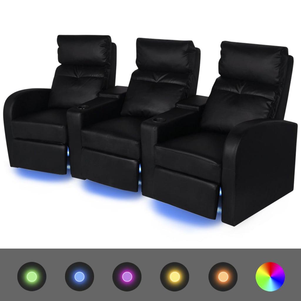 vidaXL Poltrona da Cinema Reclinabile a 3 posti con LED Pelle Artificiale Nera