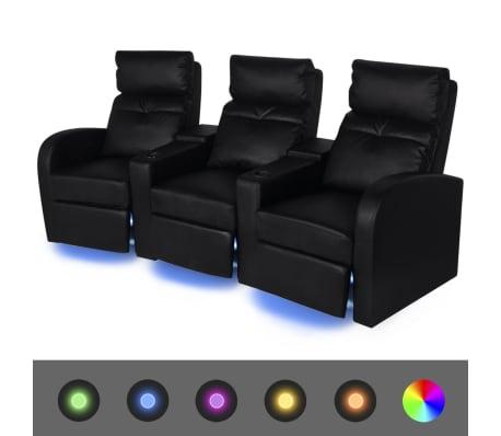 vidaXL Καναπές Τριθέσιος Ανακλινόμενος με LED Μαύρος από Δερματίνη