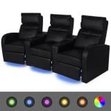 vidaXL Trivietis krėslas reglaineris su LED, dirbtinė oda, juodas
