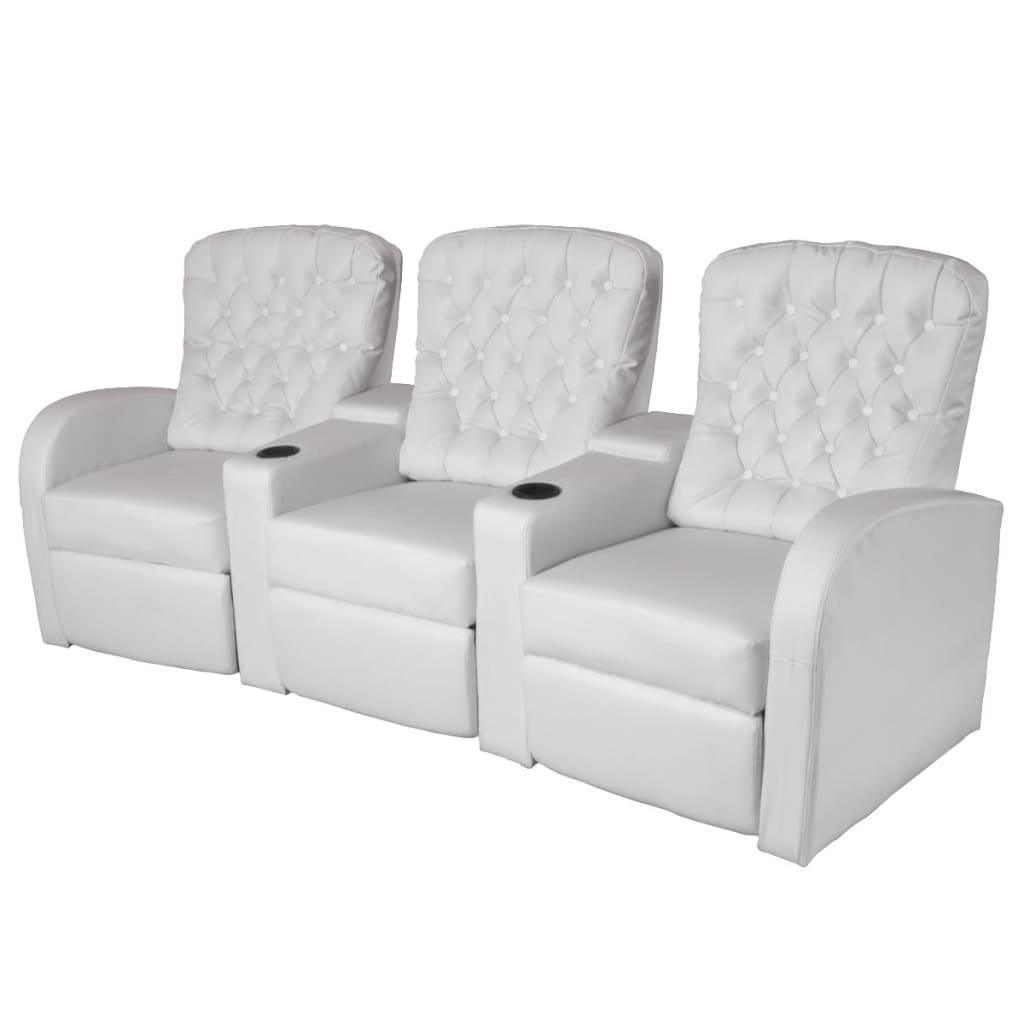 3 istekohaga diivan kunstnahast, valge