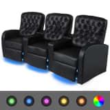 vidaXL LED-hvilestol 3-seter kunstig lær svart