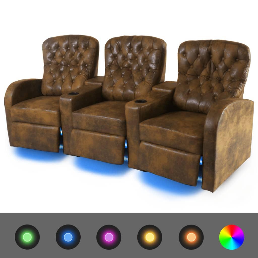 vidaXL Canapea rabatabilă LED cu 3 locuri, piele artificială, maro imagine vidaxl.ro