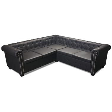 vidaXL Chesterfield penkiavietė sofa, dirbtinė oda, juoda[3/7]