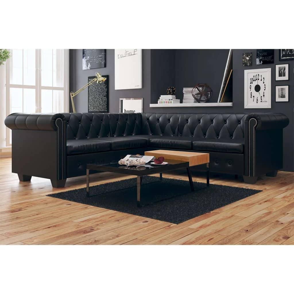 Canapé d'angle 5 places Noir Cuir Luxe Chesterfield Confort