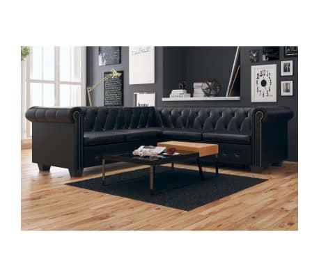 vidaxl chesterfield sofa 5 sitzer kunstleder schwarz g nstig kaufen. Black Bedroom Furniture Sets. Home Design Ideas