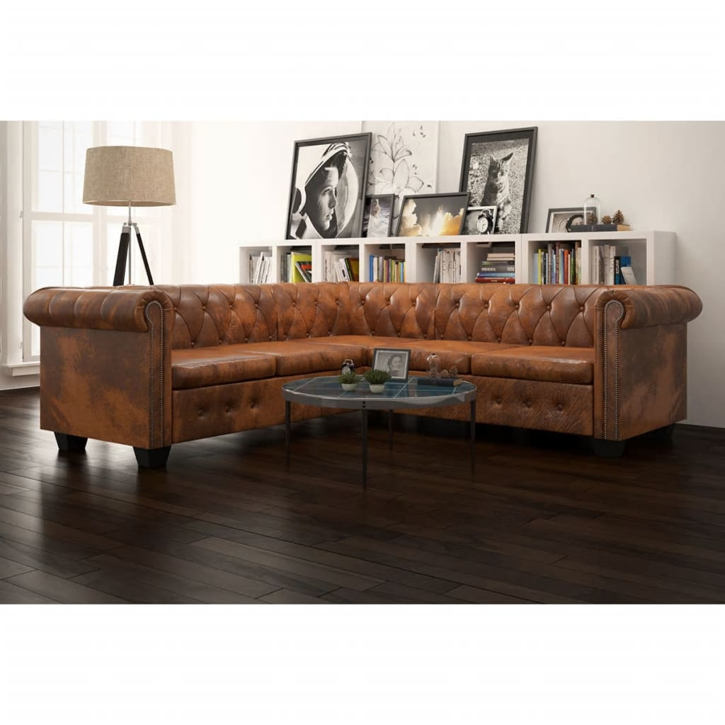 Canapé d'angle 5 places Marron Cuir Luxe Chesterfield Confort