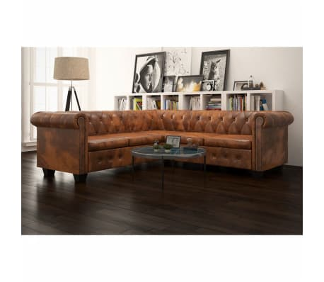 vidaxl chesterfield sofa 5 sitzer kunstleder braun g nstig kaufen. Black Bedroom Furniture Sets. Home Design Ideas