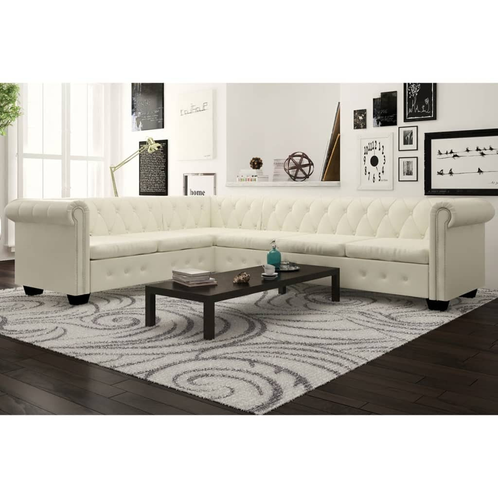 Canapé d'angle 6 places Blanc Cuir Luxe Chesterfield Confort