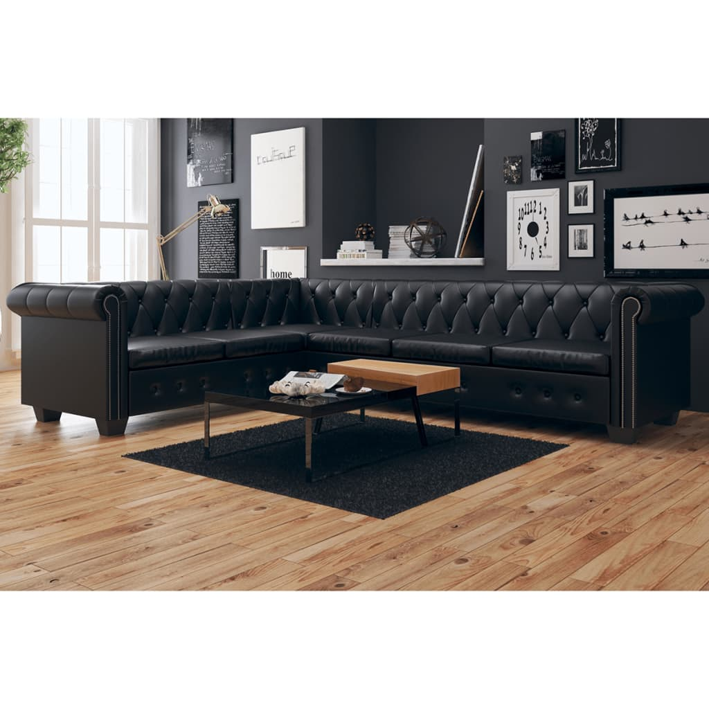 Canapé d'angle 6 places Noir Cuir Luxe Chesterfield Confort